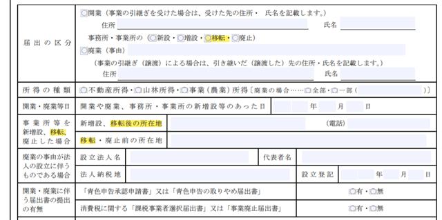 個人事業の開業・廃業等届出書の拡大図